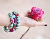 Floral and Green Bracelets Stack - Statement Bracelets