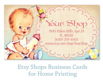 Baby shop Business cards on Digital collage sheet Printable business cards Digital cards Paper craft - BABY SHOP CARDS