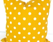 YELLOW OUTDOOR Pillows Yellow Pillow Covers Yellow Throw Pillows 18 20 26x26 Euro Shams .All Sizes.  Outdoor Yellow Polka Dot Gold Pillows