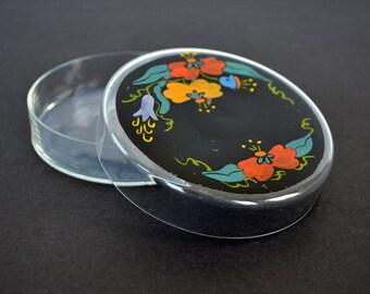 Art Nouveau Hand Painted Vintage Glass Dresser Jar, Trinket Box
