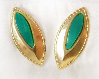 Retro Emerald Green Cats Eye Cufflinks Vintage Moonglow Women's Shirt Accessory