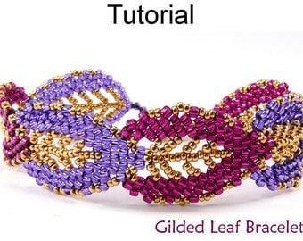 Beading Tutorial Pattern Bracelet - Diagonal Peyote Stitch - Simple Bead Patterns - Gilded Leaf Bracelet #9576