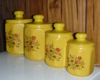 Vintage 70's Kromex kitchen canisters
