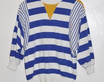 Vintage 80's ladies royal blue white striped nautical style slouch shirt medium