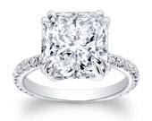 Ladies 14kt white gold engagement ring with 2.60ct Cushion White Sapphire Center and 0.30ctw G-VS2 diamonds