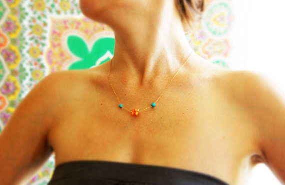 Coral and turquoise necklace, coral gold necklace, turquoise necklace, coral and turquoise, wedding, bridal jewelry, orange coral necklace