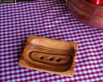 olive wood olivewood wooden soap holder dish bowl, rectangular + scoops