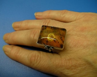 Vintage Hand-Crafted Amber Silver Ring
