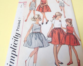 1960s Simplicity 5993 size 10 Girls Dress, Top and Shorts pattern UNCUT