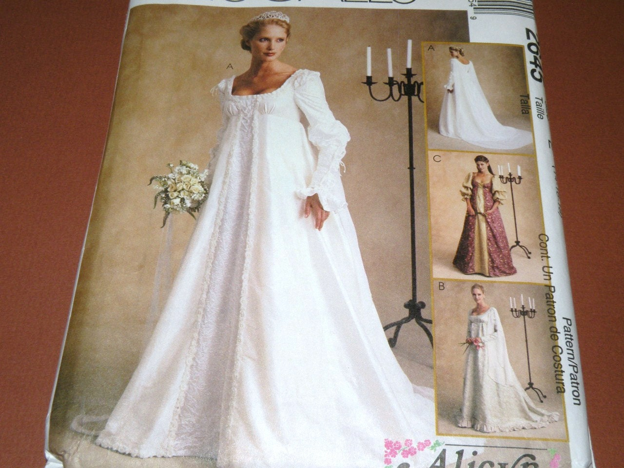 Mccalls 2645 sizes 141618 bridal gown pattern uncut for Wedding dress patterns mccalls