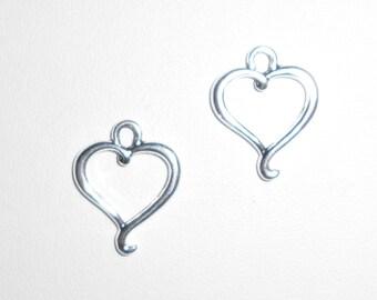 SilverDouble  Heart Charms
