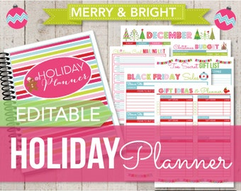 EDITABLE-Holiday Planner Set-Bright Christmas Planner- Holiday Organization Printables-18 Documents