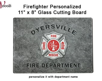 Firefighter Personalized Gray Glass Cutting Board -     Maltese Cross - Fireman