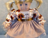 15 Inch Doll Clothes - Gobble Till You Wobble Thanksgiving Dress for 15 inch baby dolls