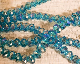 8x5mm Light Blue AB Chinese Crystal Rondelle - 398 - 36 beads