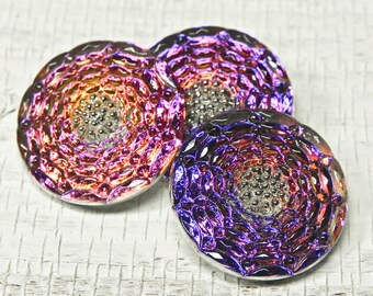 Blue Purple Flower Czech Glass Button - Art Bead - 23mm - 709