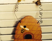 Primitive Handmade Busy Beehive Wood Cupboard Sign
