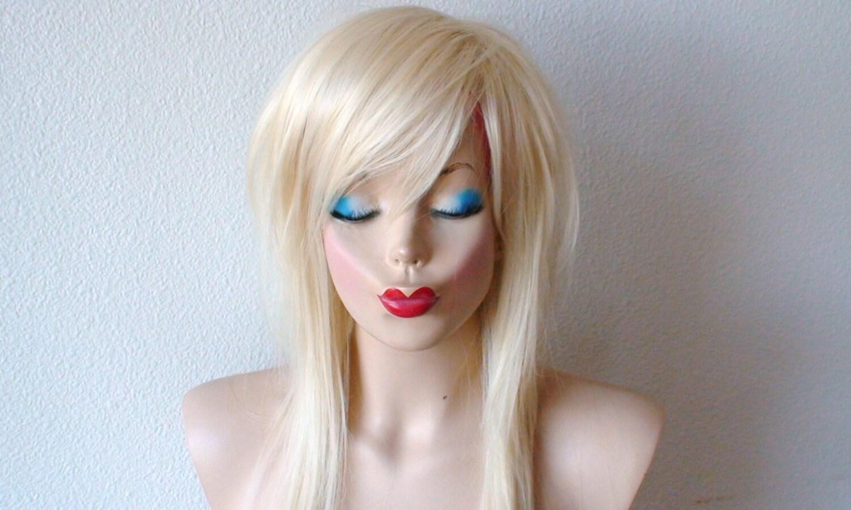 Long Platinum Blonde Wig With Bangs Platinum Blonde Wig