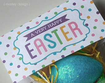 Easter tags printable easter favor tags easter gift tags happy instant download printable easter treat bag toppers digital pdf diy easter printables negle Image collections