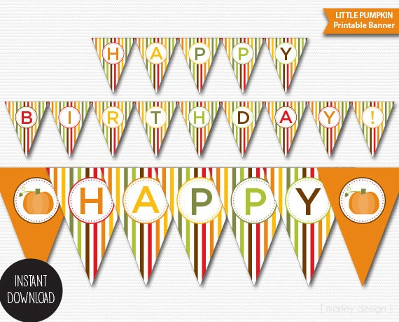 Printable Little Pumpkin Party Happy Birthday Banner ...