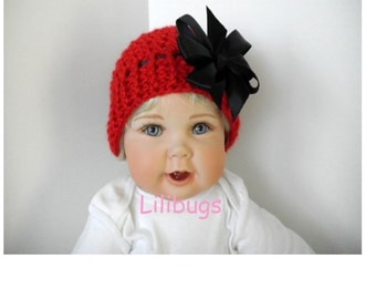 Baby Red Crochet Hat with Black Satin Ribbon Bow.