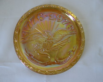 Vintage Indiana Glass Carnival Glass Bicentennial Plate - Collectible Carnival Glass Plate
