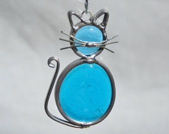 Stained Glass Ocean Blue Cat Ornament, Suncatcher