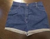 St Michael High Waist Denim Shorts - 1970's size 12