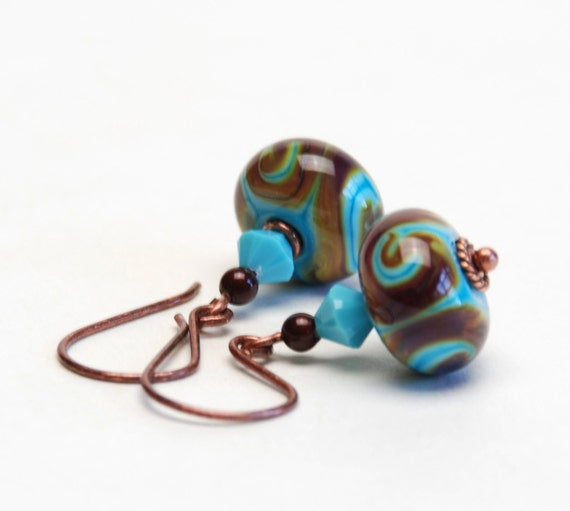 Turquoise and Brown Lampwork Glass Earrings - Antique Copper  Earwires - Handmade Jewelry