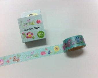 ROUND TOP  Meganai /  Masking Tape / rt-mkm-006 Flowers  / 20mm x 5M