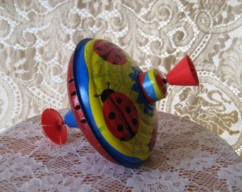 Vintage metal spinning top, vintage tin toy, collectible, made in Germany, lady bug top, 1129