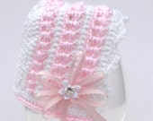 Crochet Pattern, Baby Bonnet and Booties, PDF 14-137