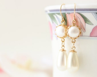 Long Pearl Earrings | Gold and pearl drop earrings set with a white pearl | Bridal jewelry