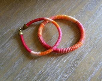 Orange bangle bracelets Fiber bracelets Stacking fiber bangle bracelets Orange fiber bracelets Light weight orange bangles