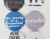 Set of 6 World Traveller Scrapbooking Flat Back Craft Badges