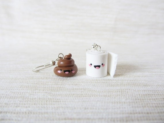 Happy Poo and Toilet Paper - Kawaii Polymer Clay Dangle Earrings, Cute miniature Jewelry