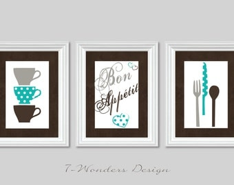 Modern Kitchen Art Print Set Eat Drink And Be Merry Set Of