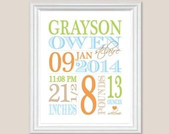 "Baby Birth Stats Boys Personalized Newborn, Custom Nursery Wall Art - Baby Blue, Lime Orange // 8"" x 10"" OR 11 x 14"" // Baby Nursery Gift"