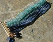 Ombre MultiStrand Bracelet Ocean Inspired with Blue Sapphire, Tourmaline, Apatite, Aquamarine and Opal