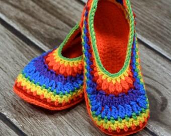 Women's Crochet Rainbow Slippers, Ladies House Shoes