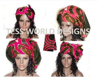 Regular size African Head tie/ African Headwrap/ Head wrap/ Scarf/ African Head scarf/African head piece/ Rasta head wrap/ Head scarf/ HT03B