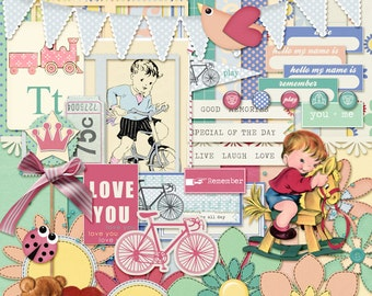 SALE 50% off Digital Scrapbooking Kit Childs Play INSTANT DOWNLOAD