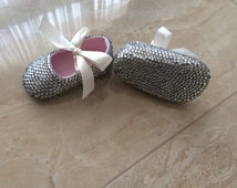 Ivory Baptism shoes Christening shoes Birthday flowergirl Shoes prewalker fully bedazzled Toddler shoes