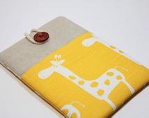 IPad Mini 4 Case iPad mini 4 Cover Foam Padded iPad Mini 4 Sleeve Handmade Ipad mini 3 Case with pocket- Yellow Giraffe