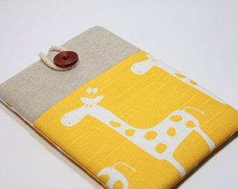 IPad Mini 4 Case iPad mini 4 Cover Foam Padded iPad Mini 4 Sleeve Handmade Ipad mini 3 Case with pocket- Yellow Giraffe