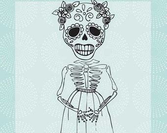 Mujer Skeleton Red Rubber Cling Stamp