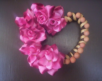 Shabby chic wreath/Mothers day Fabric Flower wreath/Shabby chic flower wreath/Heart wreath/Spring wreath/Mothers day wreath/Beads wreath/