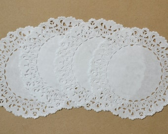 100 - 4 inch white Normandy lace paper doilies clearance sale
