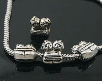 12pcs Tibetan Silver twins spacer Beads Fit European Bracelet L0144