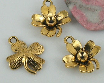 20pcs dark gold color crafted flower leaf charms H0149